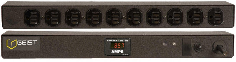 Geist PDU - Basic Non-Surge PDU-15A, 120V, Horizontal, (10) NEMA 5-15R, breakered, 15 ft power cord with L5-15P, Current - Local  Digital RMS Current Meter +/- 2% Accuracy with Full Scale 60Hz sine wave input.