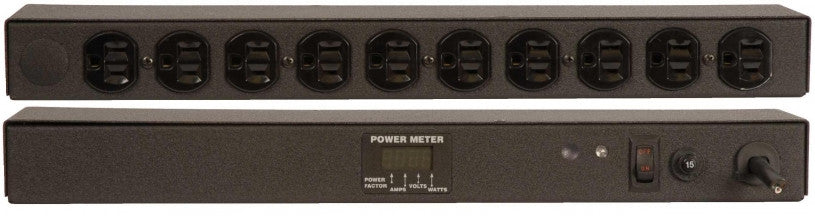 Geist PDU - Basic Non-Surge PDU-15A, 120V, Horizontal, (10) NEMA 5-15R, power switch, breakered, 10 ft power cord with 5-15P, Power - Local (A, V, W, PF) Digital RMS Scrolling Power Meter +/- 2% Accuracy with Full Scale 60Hz sine wave input