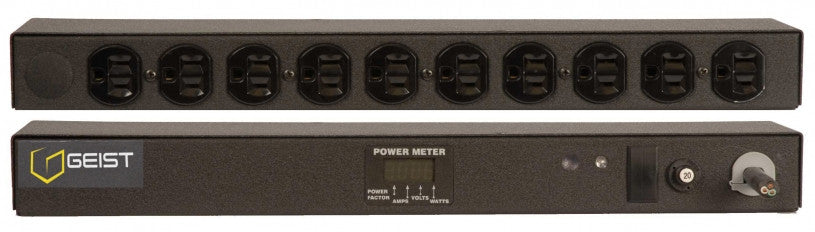 Geist PDU - Basic Non-Surge PDU-20A, 120V, Horizontal, (10) NEMA 5-15R, breakered, 15 ft power cord with 5-20P,