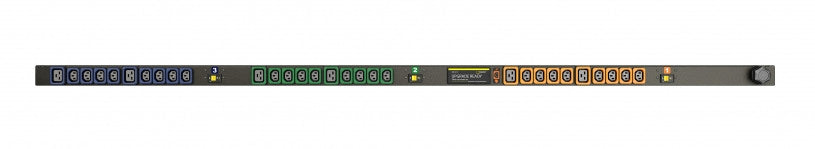 Geist PDU - Basic - PDU - Upgradeable, 30A, 208V DELTA, 3 Phase, Vertical, (24) Locking IEC C13, (6) Locking IEC C19, breakered, 10 ft power cord with L15-30P
