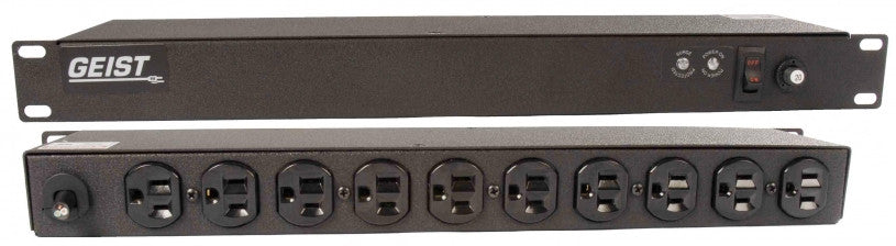 Geist - Basic Surge PDU-Surge, 20A, 120V, Horizontal, (10) NEMA 5-15R, power switch, breakered, 15 ft power cord with 5-20P