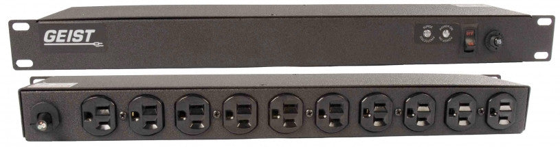 Geist - Basic Surge PDU-Surge, 15A, 120V, Horizontal, (10) NEMA 5-15R, power switch, breakered, 15 ft power cord with 5-15P,