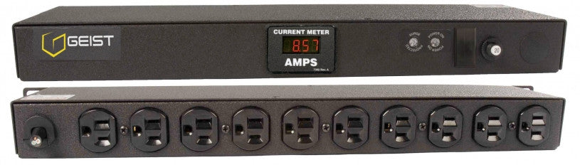 Geist PDU - Basic Surge PDU-e, 20A, 120V, Horizontal, (10) NEMA 5-15R, breakered, 10 ft power cord with 5-20P, Current - Local  Digital RMS Current Meter +/- 2% Accuracy with Full Scale 60Hz sine wave input