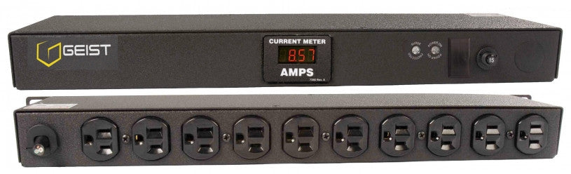 Geist PDU - Basic Surge PDU- Surge, 15A, 120V, Horizontal, (10) NEMA 5-15R, breakered, 15 ft power cord with 5-15P, Current - Local  Digital RMS Current Meter +/- 2% Accuracy with Full Scale 60Hz sine wave input