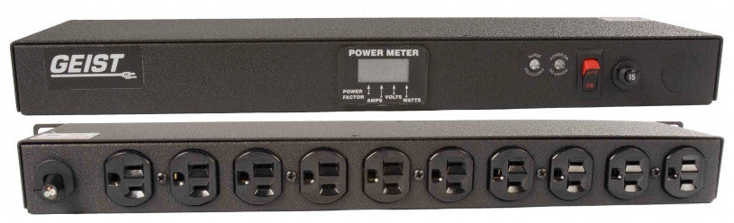 Geist - Basic Surge PDU-Surge, 15A, 120V, Horizontal, (10) NEMA 5-15R, power switch, breakered, 10 ft power cord with 5-15P, Power - Local (A, V, W, PF) Digital RMS Scrolling Power Meter +/- 2% Accuracy with Full Scale 60Hz sine wave input.