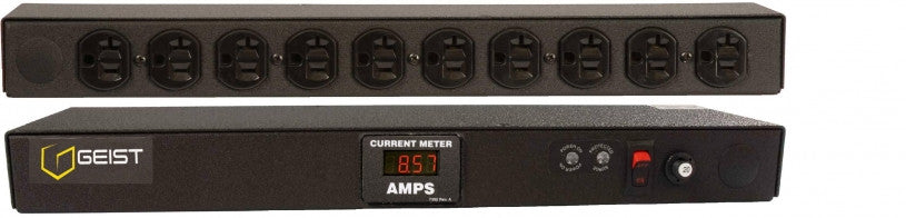 Geist PDU - Basic Surge PDU-, Surge, 20A, 120V, Horizontal, (10) NEMA 5-20R, power switch, breakered, 10 ft power cord with 5-20P, Current - Local Digital RMS Current Meter +/- 2% Accuracy with Full Scale 60Hz sine wave input.