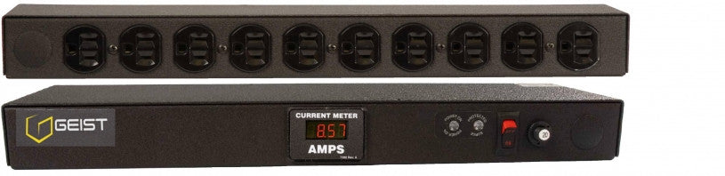 Geist - Basic Surge PDU-Surge, 20A, 120V, Horizontal, (10) NEMA 5-15R, power switch, breakered, 15 ft power cord with 5-20P, Current - Local Digital RMS Current Meter +/- 2% Accuracy with Full Scale 60Hz sine wave input