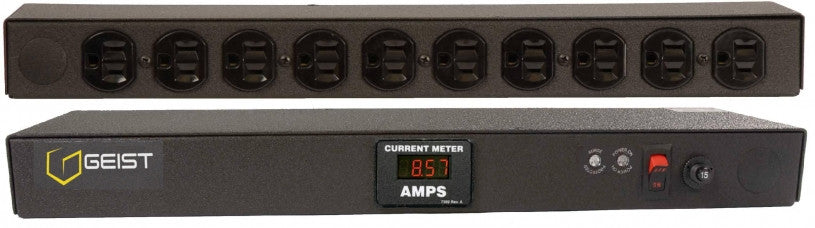 Geist - Basic Surge PDU-Surge, 15A, 120V, Horizontal, (10) NEMA 5-15R, power switch, breakered, 15 ft power cord with 5-15P, Current - Local  Digital RMS Current Meter +/- 2% Accuracy with Full Scale 60Hz sine wave input.