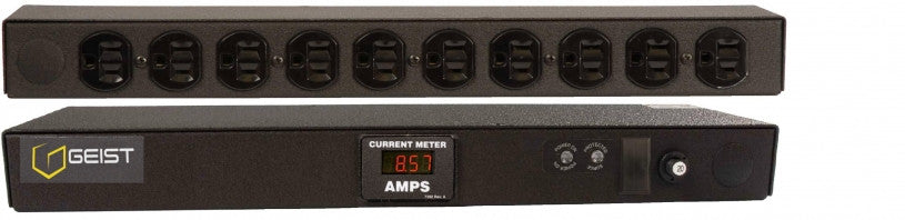 Geist - Basic Surge PDU-Surge, 20A, 120V, Horizontal, (10) NEMA 5-15R, breakered, 15 ft power cord with 5-20P, Current - Local  Digital RMS Current Meter +/- 2% Accuracy with Full Scale 60Hz sine wave input