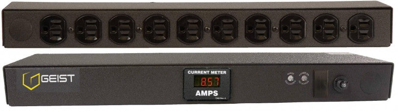 Geist PDU - Basic Surge PDU- Surge, 15A, 120V, Horizontal, (10) NEMA 5-15R, breakered, 15 ft power cord with 5-15P, Current - Local  Digital RMS Current Meter +/- 2% Accuracy with Full Scale 60Hz sine wave input.