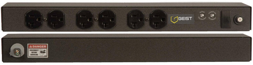 Geist - Basic Surge PDU-Surge, 20A, 120V, Horizontal, (6) NEMA 5-20R, breakered, 10 ft power cord with 5-20P