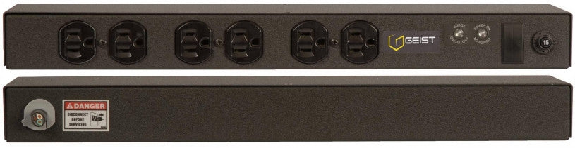 Geist - Basic Surge PDU-Surge, 15A, 120V, Horizontal, (6) NEMA 5-15R, breakered, 10 ft power cord with 5-15P,