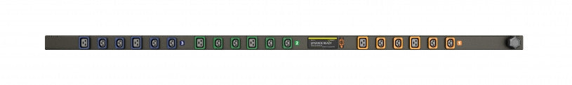 Geist PDU - Basic PDU-Upgradeable, 16A or 20A, 208-240/360-415V WYE, 3 Phase, Vertical, (12) Locking IEC C13, (6) Locking IEC C19, 10 ft / 3m power cord with 3P+N+E (IP44),