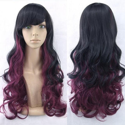 70cm Long Ombre Wigs Pastel Goth Accessories #JU2465-Black Purple-28 inches-Juku Store