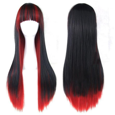 70cm Long Ombre Wigs Pastel Goth Accessories #JU2465-Black Red-28 inches-Juku Store