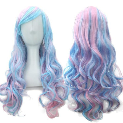70cm Long Ombre Wigs Pastel Goth Accessories #JU2465-Blue Pink-28 inches-Juku Store
