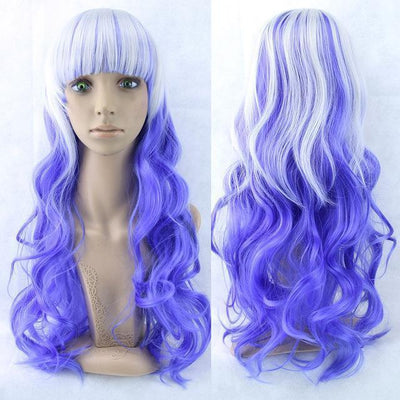 70cm Long Ombre Wigs Pastel Goth Accessories #JU2465-White Blue-28 inches-Juku Store