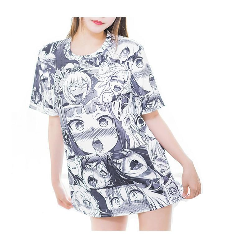 Ahegao T-Shirt and Stocking Set Anime Cartoon Top #JU2406-Juku Store