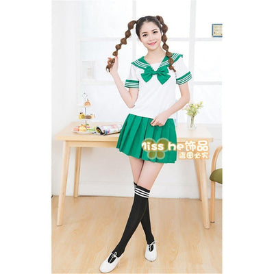 Anime Sailor School Uniform Set [7 Colors] #JU1825-Green-M-Juku Store