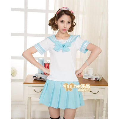 Anime Sailor School Uniform Set [7 Colors] #JU1825-Light Blue-M-Juku Store