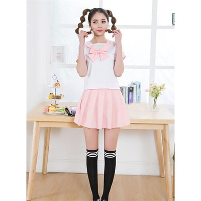 Anime Sailor School Uniform Set [7 Colors] #JU1825-Pink-M-Juku Store