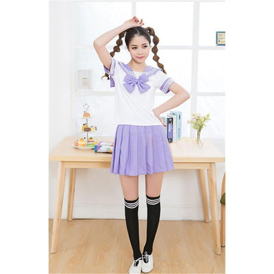 Anime Sailor School Uniform Set [7 Colors] #JU1825-Purple-M-Juku Store