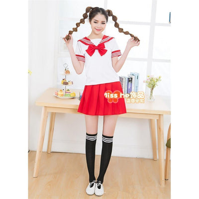 Anime Sailor School Uniform Set [7 Colors] #JU1825-Red-M-Juku Store