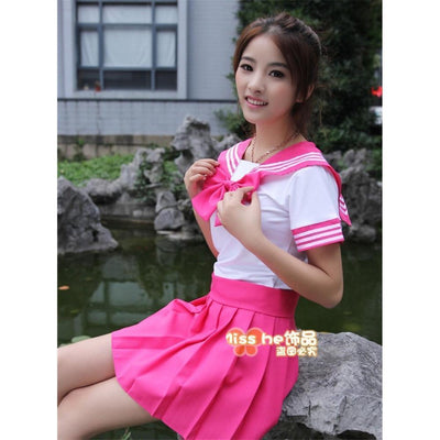 Anime Sailor School Uniform Set [7 Colors] #JU1825-Rose Red-M-Juku Store