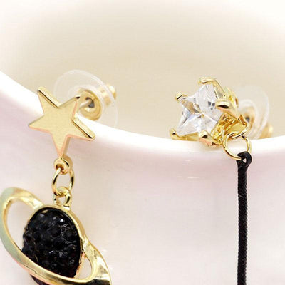 Asymmetrical Star and Moon Earrings Harajuku Jewelry #JU2433-Juku Store