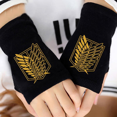 Attack on Titan Cotton Print Gloves Anime Fingerless Mitten #JU2502-Survey Corps Gold-One Size-Juku Store