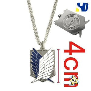 Attack on Titan Wings of Liberty Metal Necklace / Keychain [2 Colors] #JU1890-Silver-Necklace-Juku Store