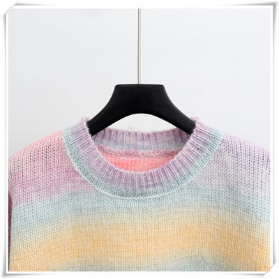 Autumn Candy Color Rainbow Sweater Oversized Pastel Pullover #JU2946-Juku Store