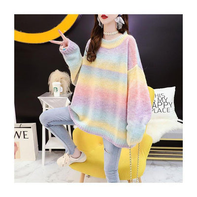 Autumn Candy Color Rainbow Sweater Oversized Pastel Pullover #JU2946-Pink-One Size-Juku Store