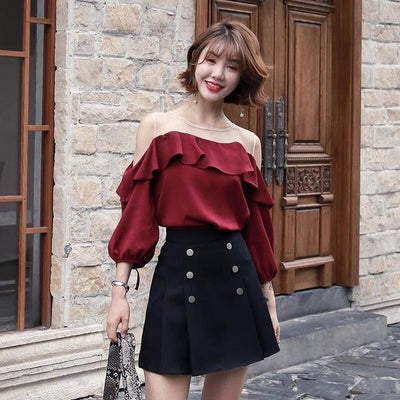 Autumn Knitted Two Piece Sweater and Skirt Korean Outfit #JU2813-M-Juku Store