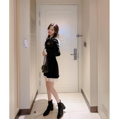Autumn Long Sleeve Lace Velvet Dress Kawaii Outfit #JU2912-Juku Store