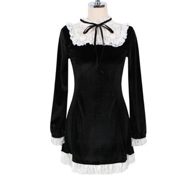 Autumn Long Sleeve Lace Velvet Dress Kawaii Outfit #JU2912-XL-Juku Store