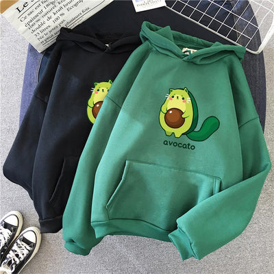 Avocato Cartoon Hoodie Kawaii Casual Sweatshirt #JU2969-Green-XL-Juku Store