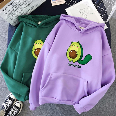 Avocato Cartoon Hoodie Kawaii Casual Sweatshirt #JU2969-Purple-XL-Juku Store