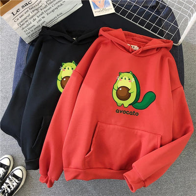 Avocato Cartoon Hoodie Kawaii Casual Sweatshirt #JU2969-Red-XL-Juku Store