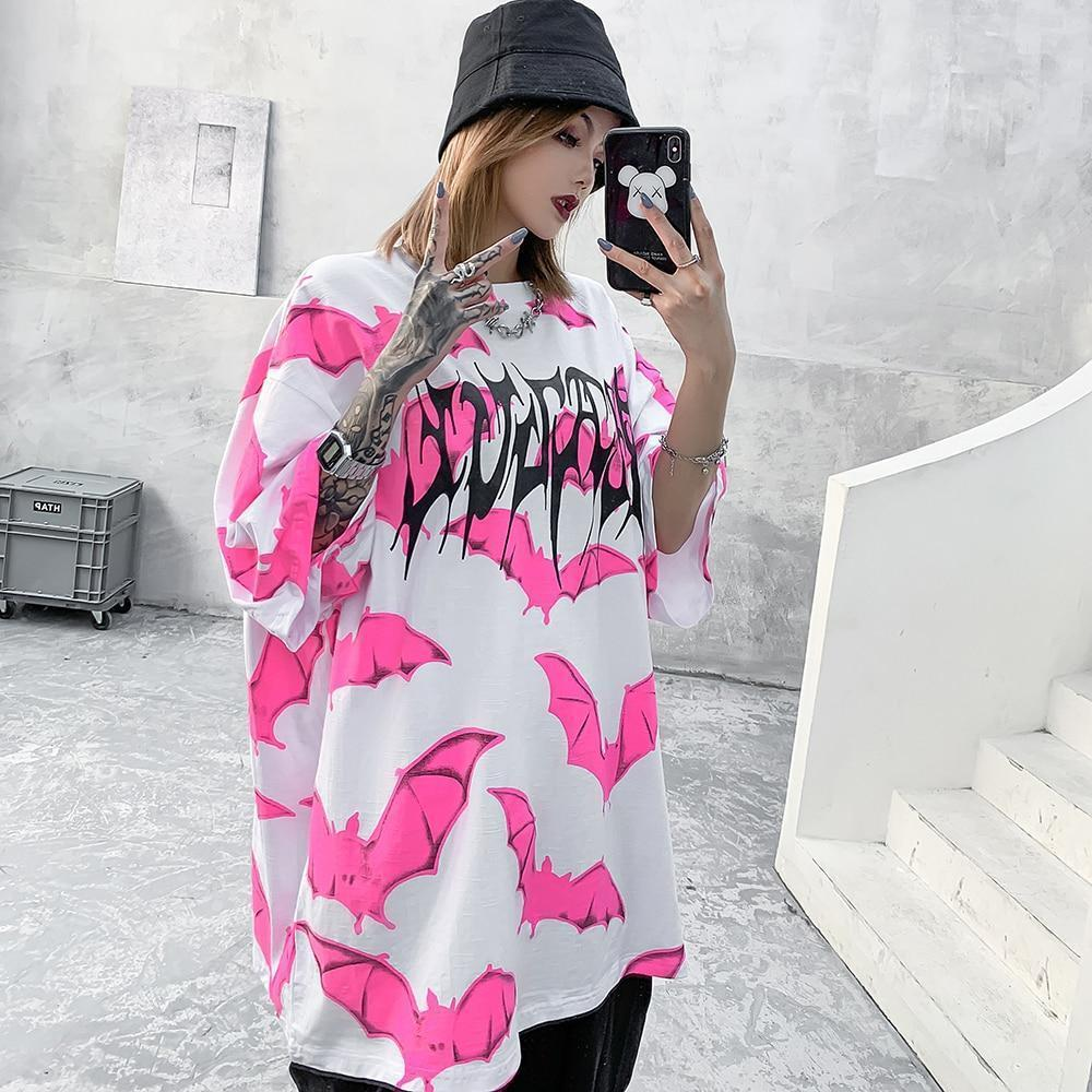 Bat Graphic Oversized  T-Shirt Pastel Goth Top #JU2783