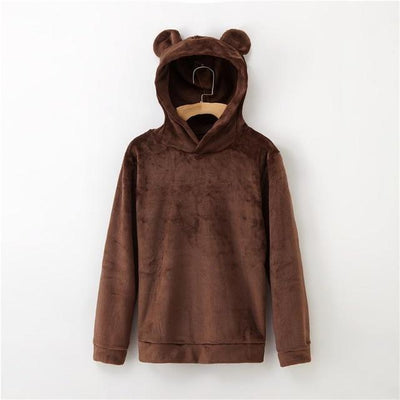 Bear Ears Flannel Hoodie Pastel Sweatshirt #JU2567-Brown-L-Juku Store