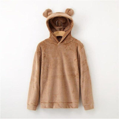 Bear Ears Flannel Hoodie Pastel Sweatshirt #JU2567-Light Brown-L-Juku Store