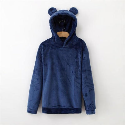 Bear Ears Flannel Hoodie Pastel Sweatshirt #JU2567-Royal Blue-L-Juku Store