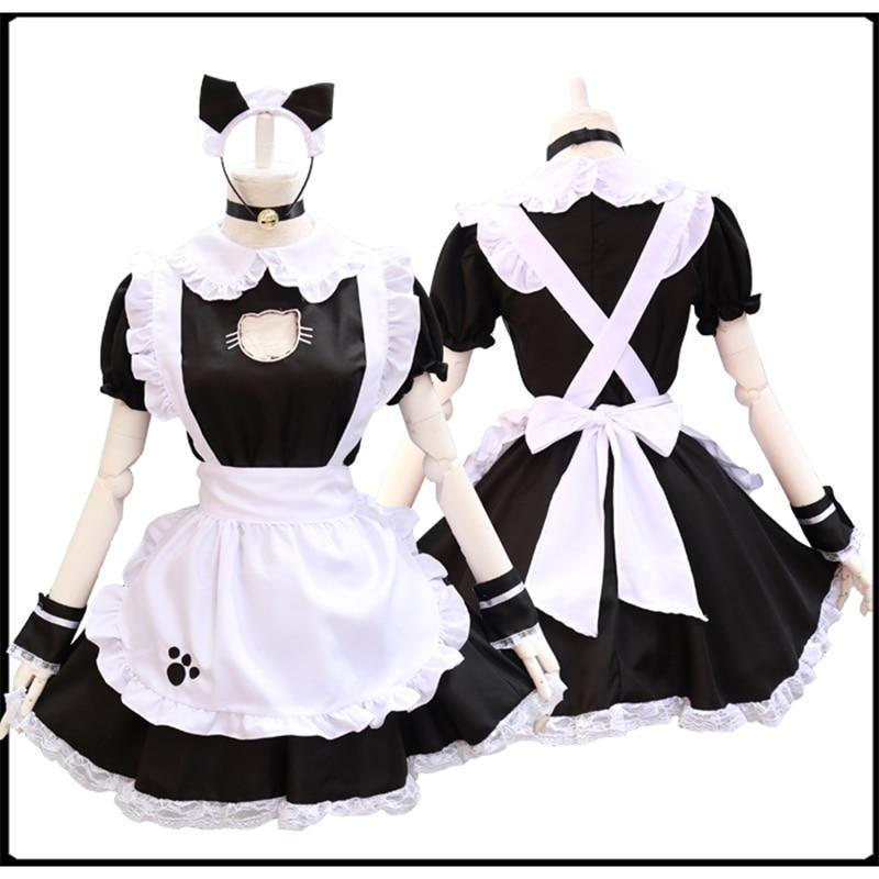 Black Cat Maid Dress Lolita Cosplay Costume #JU2473-S-Juku Store