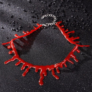 Blood Red Elastic Choker Necklace Cosplay #JU2082-Juku Store