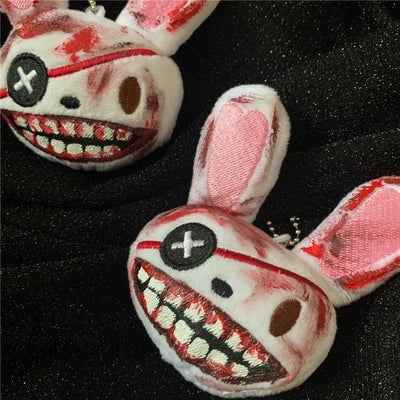 Bloody One-eyed Rabbit Plush Keychain Menhera Accessory #JU2975-Juku Store