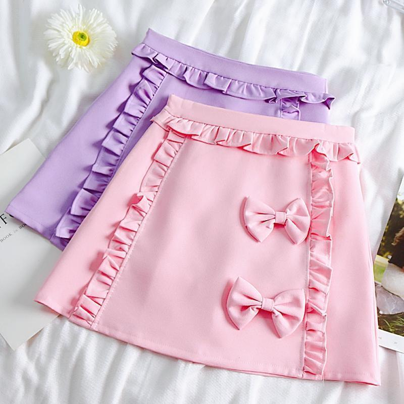 Bow and Ruffles Japanese Skirt Pastel Mini #JU2547
