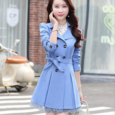Bow Belt Double-Breasted Trench Coat Koren Outerwear #JU2759-Blue-M-Juku Store