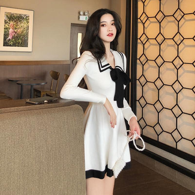 Bow Knitted Temperament Dress Korean Long Sleeve Mini #JU2741-Juku Store