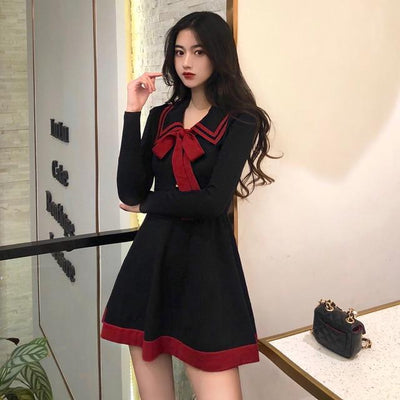 Bow Knitted Temperament Dress Korean Long Sleeve Mini #JU2741-Black-One Size-Juku Store